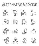 Η εναλλακτική ιατρική αφορούσε το διανυσματικό σύνολο εικονιδίων Στοκ Εικόνες