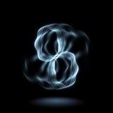 Η ενεργειακή επίδραση - αφηρημένοι κόκκινοι και μπλε κύκλοι καπνού - νέο που καίγεται περιβάλλει το σκηνικό Στοκ Εικόνες