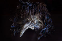 Η ενετική μάσκα γιατρών πανούκλας καρναβαλιού με τα χρωματισμένα φτερά Στοκ Φωτογραφίες