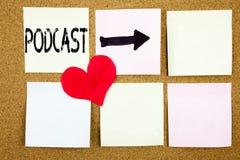 Η εννοιολογική έμπνευση τίτλων κειμένων γραψίματος χεριών που παρουσιάζει την έννοια Podcast για την έννοια ραδιοφωνικής αναμετάδ Στοκ Εικόνα