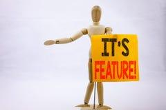 Η εννοιολογική παρουσίαση έμπνευσης τίτλων κειμένων γραψίματος χεριών χαρακτηρίζει την επιχειρησιακή έννοια για τη διαφήμιση διαφ στοκ εικόνες