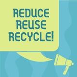Η εννοιολογική παρουσίαση γραψίματος χεριών μειώνει την επαναχρησιμοποίηση ανακύκλωσης Επίδειξη επιχειρησιακών φωτογραφιών που πε απεικόνιση αποθεμάτων