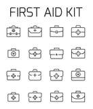 Η εξάρτηση πρώτων βοηθειών αφορούσε το διανυσματικό σύνολο εικονιδίων Στοκ Εικόνες