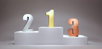 Η εξέδρα νικητών με τους αριθμούς τρισδιάστατους δίνει την τρισδιάστατη απεικόνιση στοκ εικόνα