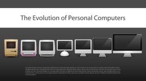 Η εξέλιξη των υπολογιστών 7 διαφορετικοί τύποι από το 20ο αιώνα τώρα στα όργανα ελέγχου περιέλαβε νέο παλαιό σύγχρονο υπολογιστών Στοκ Εικόνα