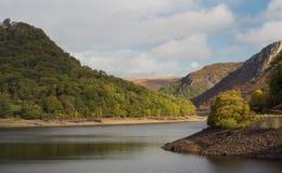 Η δεξαμενή ddu garreg, οι λόφοι νερού και τα δέντρα στοκ εικόνες
