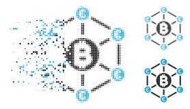 Η εξαφάνιση διέστιξε το ημίτονο εικονίδιο δικτύων Bitcoin ευρο- διανυσματική απεικόνιση