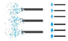 Η εξαφάνιση διέστιξε το ημίτονο εικονίδιο καταλόγων Ethereum διανυσματική απεικόνιση