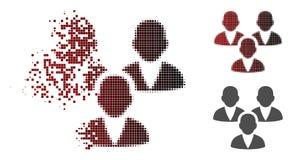 Η εξαφάνιση διέστιξε το ημίτονο εικονίδιο ομάδας πελατών διανυσματική απεικόνιση