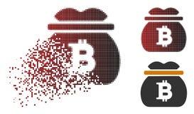 Η εξαφάνιση διέστιξε το ημίτονο εικονίδιο τσαντών χρημάτων Bitcoin ελεύθερη απεικόνιση δικαιώματος