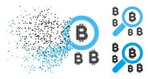 Η εξαφάνιση Pixelated ημίτονο βρίσκει το εικονίδιο Bitcoin απεικόνιση αποθεμάτων