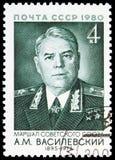 85η επέτειος γέννησης του Α ? Vasilevsky, σοβιετικοί στρατιωτικοί διοικητές serie, circa 1980 στοκ φωτογραφίες