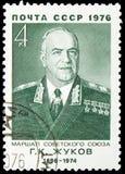 80η επέτειος γέννησης του Γ ? Zhukov, σοβιετικοί στρατιωτικοί διοικητές serie, circa 1976 στοκ εικόνα