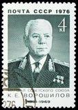 80η επέτειος γέννησης του Κ ? Voroshilov, σοβιετικοί στρατιωτικοί διοικητές serie, circa 1976 στοκ φωτογραφία με δικαίωμα ελεύθερης χρήσης