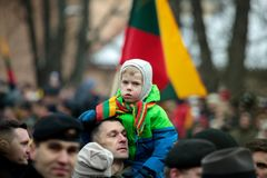 100η επέτειος της αποκατάστασης της λιθουανικής κατάστασης πολιτείας Στοκ φωτογραφία με δικαίωμα ελεύθερης χρήσης