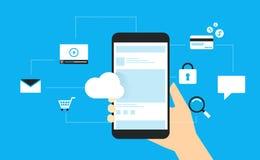 Η επίπεδη διανυσματική χρησιμοποίηση έννοιας σχεδίου κινητή συνδέει με την επιχείρηση ελεύθερη απεικόνιση δικαιώματος