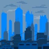 Η επίπεδη πόλη σχεδίασε στις σκιές του μπλε διανύσματος Στοκ εικόνα με δικαίωμα ελεύθερης χρήσης