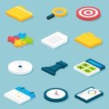 Η επίπεδη Isometric Business Objects καθορισμένη Στοκ εικόνες με δικαίωμα ελεύθερης χρήσης