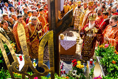 Η επίσκεψη του πατριάρχη της ουκρανικής Ορθόδοξης Εκκλησίας Κίεβο Στοκ εικόνα με δικαίωμα ελεύθερης χρήσης