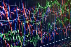 Η επίδειξη του χρηματιστηρίου αναφέρει τη γραφική παράσταση διαγραμμάτων εμπορική ζωηρόχρωμη πράσινη, μπλε, κόκκινη περίληψη υποβ Στοκ Φωτογραφία