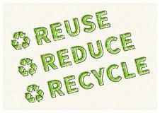 Η επαναχρησιμοποίηση μειώνει την ανακύκλωσης διανυσματική απεικόνιση απεικόνιση αποθεμάτων