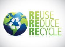 Η επαναχρησιμοποίηση μειώνει το ανακύκλωσης σχέδιο απεικόνισης σφαιρών απεικόνιση αποθεμάτων