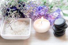 Η επεξεργασία και το προϊόν SPA για τα θηλυκά πόδια και manicure nails spa με lavender το λουλούδι και την πέτρα βράχου, διάστημα στοκ εικόνες με δικαίωμα ελεύθερης χρήσης