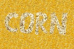 Η επιγραφή καλαμποκιού αποτελείται από popcorn σε ένα κίτρινο κίτρινο υπόβαθρο σιταριού στοκ φωτογραφίες