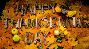 Η επιγραφή στα συγχαρητήρια στην ημέρα των ευχαριστιών Στοκ Εικόνες