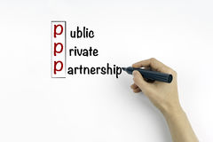 Η επιγραφή στο υπόβαθρο δημόσιο, ιδιωτικός, συνεργασία Στοκ Εικόνες