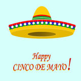 Η επιγραφή του ευτυχούς Cinco de Mayo σομπρέρο απεικόνιση Στοκ φωτογραφία με δικαίωμα ελεύθερης χρήσης