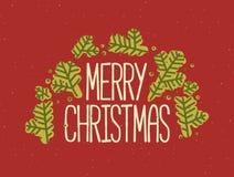Η επιγραφή Χαρούμενα Χριστούγεννας που γράφεται με την κομψή πηγή και που διακοσμείται από το κωνοφόρο δέντρο διακλαδίζεται ή έλα απεικόνιση αποθεμάτων