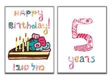 Η επιγραφή χρόνια πολλά Mazl Tov στα εβραϊκά στη μετάφραση σας εύχομαι την ευτυχία Ένα κομμάτι του κέικ με τα κεριά διανυσματική απεικόνιση