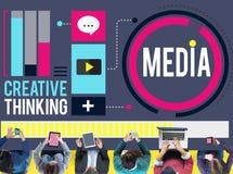 Η επικοινωνία μέσων συνδέει τη δημιουργική έννοια σκέψης απεικόνιση αποθεμάτων