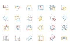Η επικοινωνία χρωμάτισε τα διανυσματικά εικονίδια 5 περιλήψεων Στοκ εικόνα με δικαίωμα ελεύθερης χρήσης