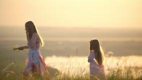 Η επιλογή μητέρων και κορών ανθίζει για να υφάνει το στεφάνι στο λόφο στο ηλιοβασίλεμα φιλμ μικρού μήκους