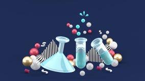 Η επιστήμη πειραματίζεται σωλήνες ανάμεσα στις ζωηρόχρωμες σφαίρες στο σκούρο μπλε υπόβαθρο διανυσματική απεικόνιση