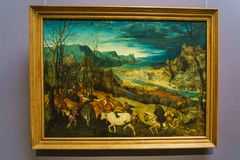 Η επιστροφή του κοπαδιού 1565 από το Pieter Brueghel ο παλαιότερος σε Ku Στοκ Φωτογραφία