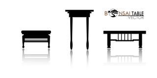 Η επιτραπέζια σκιαγραφία μπονσάι στο άσπρο υπόβαθρο, προθήκη μπονσάι ύφους καταρρακτών, απαρίθμησε την εικόνα, διανυσματική απεικ Στοκ Φωτογραφία