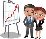 Η επιτυχείς επιχειρησιακοί γυναίκα και ο άνδρας που εξετάζουν πρου4ποθέτουν διανυσματική απεικόνιση
