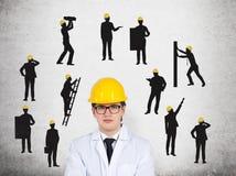 η επιχείρηση αναρριχείται στον κόσμο κατασκευής Στοκ Εικόνες