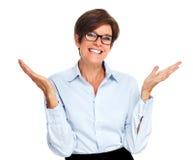 η επιχείρηση διέγειρε την ευτυχή γυναίκα Στοκ εικόνες με δικαίωμα ελεύθερης χρήσης