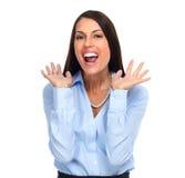 η επιχείρηση διέγειρε την ευτυχή γυναίκα Στοκ εικόνα με δικαίωμα ελεύθερης χρήσης