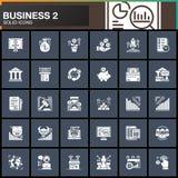 Η επιχείρηση, χρηματοδότηση, διανυσματικά εικονίδια χρημάτων έθεσε, σύγχρονη στερεά συλλογή συμβόλων διανυσματική απεικόνιση