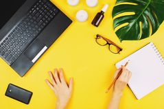 Η επιχείρηση flatlay με το lap-top, κινητό τηλέφωνο, γυαλιά, philodendron βγάζει φύλλα, κεριά, κρέμα και άλλα εξαρτήματα Στοκ φωτογραφία με δικαίωμα ελεύθερης χρήσης