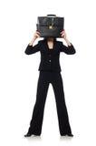 Η επιχειρηματίας γυναικών με το χαρτοφύλακα που απομονώνεται επάνω Στοκ φωτογραφίες με δικαίωμα ελεύθερης χρήσης