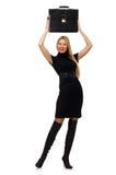 Η επιχειρηματίας γυναικών με το χαρτοφύλακα που απομονώνεται επάνω Στοκ Φωτογραφίες