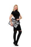Η επιχειρηματίας γυναικών με το χαρτοφύλακα που απομονώνεται επάνω Στοκ Φωτογραφία