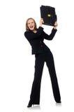 Η επιχειρηματίας γυναικών με το χαρτοφύλακα που απομονώνεται στο λευκό Στοκ Εικόνες