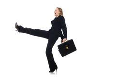 Η επιχειρηματίας γυναικών με το χαρτοφύλακα που απομονώνεται στο λευκό Στοκ εικόνες με δικαίωμα ελεύθερης χρήσης